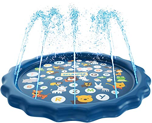 SplashEZ 3-in-1 Sprinkler for Kids, Splash Pad, and Wading Pool for Learning  Childrens Sprinkler Pool, 60 Inflatable Water Toys  from A to Z Outdoor Swimming Pool for Babies and Toddlers