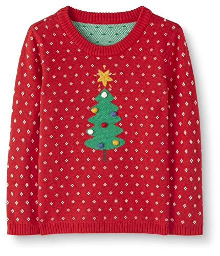 Moon and Back Holiday Sweater Infant-and-Toddler-Sweaters, Rojo, 4 años (97-107 CM)