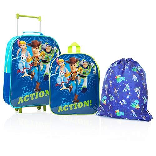 Disney Toy Story 4 Forky, Bo Peep, Woody, Buzz Personaggi Su Questo Set Di Valigie Trolley, Zaino E...
