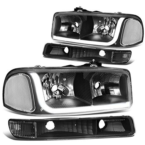 DNA MOTORING Black Housing Clear Corner HL-LB-SIERRA99-BK-CL1 4PCs LED DRL Strip Headlight+Bumper Lamp[99-07 GMC Sierra/Yukon],Black Clear