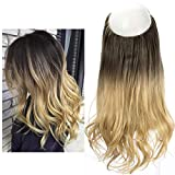 Bayalage Hair Extension Ombre Brunette Hairpiece Hair Pieces For Women 16' Long Loose Wave Halo Flip in Natural Hidden Wire Crown Headband Synthetic Heat Friendly Fiber(M03#6T25)