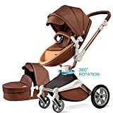 Poussette combinée 3 en 1 avec poussette et nacelle 2020 nouvelle Poussette rotative 360 Haute paysage attaches en cuir PU suspension roues en PU siège bébé supplémentaire achetable-Marron