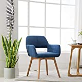 Lansen Furniture(Set of 1) Modern Living Dining Room Accent Arm Chairs Club Guest with Solid Wood Legs (1pcs, Blue)