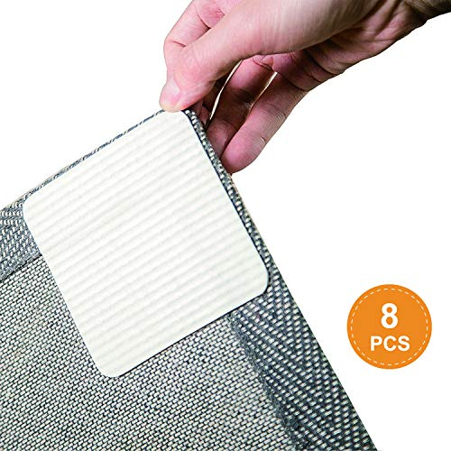 Rug Grippers, Best Non-slip Washable Rug Gripper, VACUUM TECH - New Materials to Anti Curling Rug Pad : Keep your rug in place & Make corner flat and Easily Peel off when need