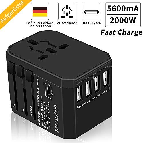 Reiseadapter Reisestecker 2000W Smart Weltweit Travel Adapter 4 USB +Type C + AC Aufladung International einsetzbar für 224+ Ländern Europa Deutschland UK Australien USA Asien Usw