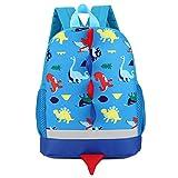 Leedy - Mochila para niños, mochila escolar para niñas, bebés, niños, diseño de dinosaurios, impermeable, mochila escolar azul Talla única