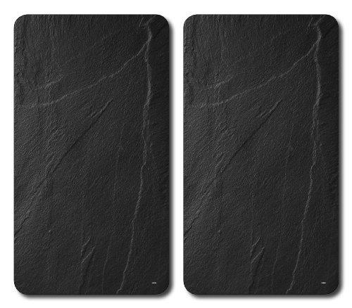 Kesper 3652313 Taglieri in vetro infrangibile, Multiuso, Motivo Ardesia, Nero, 52 x 30 x 0.8 cm, 2 pezzi