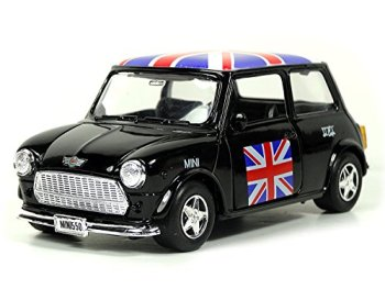 Mini Cooper Model (Black) with Union Jack Top Made of Die Cast Metal and Plastic Parts, Pull Back & Go Action Model - 384B
