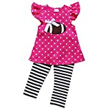 So Sydney Girls Pink & Brown Friday Night Football, 2 Pc Outfit (XS (2T), Hot Pink Polka)