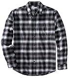 Amazon Essentials Chemise en Flanelle à Manches Longues et Coupe régulière. Button-Down-Shirts, Black (Black Ombre Plaid), Large