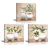 PIY 3X Cuadro Sobre Lienzo Imagen de Plantas Verdes Elegantes en Botellas de jarrón Canvas Wall Art...
