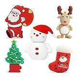 5pcs*32GB Navidad USB Flash Drive Lovely Santa Claus&Alce&Mueco de Nieve&Arbol de Navidad USB Pen Drive Sets Sticks Gift For Students Kids Children Memoria U Disk