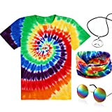 4 Pieces Hippie Costume Set, Include Colorful Tie-Dye T-Shirt, Peace Sign Necklace, Headband and Sunglasses for Theme Parties (S, Rainbow)
