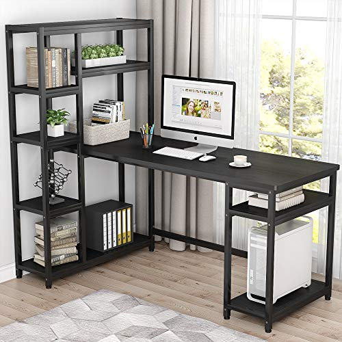Tribesigns 67' Reversible Large Computer Desk with 9 Storage Shelves,...