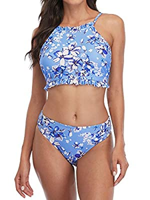 Womens floral high neck cross back two piece bikini swimwear swimsuits sets Feature:high neck,floral patterned,ruffled,cross back,low waist,adjustable Chest style:removable soft padding provide more support and lift Occasion:perfect for tropical vaca...