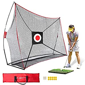 ⛳【SWING WITH CONFIDENCE】: Keenstone 4-ply knotless golf practice net can take a beating with an effortless ball roll back feature.This golf practice net and mat bundle will hold up to even the most rigorous of practice sessions. Both the portable gol...