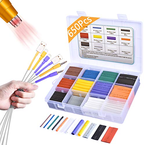 Pointool Heat Shrink Tubing Kit-Wire Shrink Wrap Tubing Wire Heat Shrink Tube Kit Insulation Electrical Colored Assorted Heat Shrink Tubing Assortment Electronics for Wires(Shrink Ratio2:1,650Pcs)
