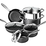 Pots and Pans Set Nonstick, Pro. Series Nonstick Hard Anodized Cookware Sets with Stone Interior, Granite Pots and Pans with Straining Lid & Pour Spout, 10 Piece Stone Cookware Set Hard Anodized