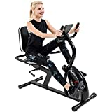 Vanswe Recumbent Exercise Bike 16 Levels Magnetic Tension Resistance 380 lbs. Stationary Bike with Adjustable Seat, Transport Wheels and Bluetooth Connectivity for Seniors Workout and Physical Therapy (Silver/Black)