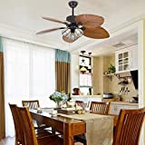 Palm Island Bali Breeze Ceiling Fan with Remote Control, Five Palm Leaf Blades, Tropical Style, 52', Bronze,With 3 Lights