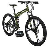 Eurobike G4 Mountain Bike 26 Inches 3 Spoke Dual Suspension Folding Bike 21 Speed MTB ArmyGreen