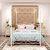 Queen Size Canopy Bed Frames with Vintage Headboard and Footboard Bed Canopy Frame,No Box Spring Required Heavy Duty Slat Platform Without Storage (Queen, White)