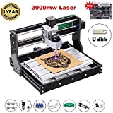 Upgrade Version 3000mW CNC 3018 Pro GRBL Control DIY Mini CNC Machine, 3 Axis Pcb Milling Machine, Wood Router Engraver with Offline Controller, ER11 and 5mm Extension Rod
