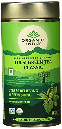Chá tulsi green tea classic - chá verde organic india lata 100g