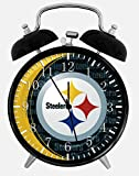 Steelers Twin Bells Alarm Desk Clock 4' Home Office Decor X54 Nice for Gifts