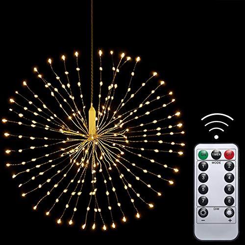 Fuochi d'artificio Luci fiammeggianti 200 LED, IP65 impermeabile Filo di rame, A batteria, senza fili Telecomando Mazzo Luce esterna per Giardino Terrazza Camera Nozze Festa Natale (Bianco Caldo)