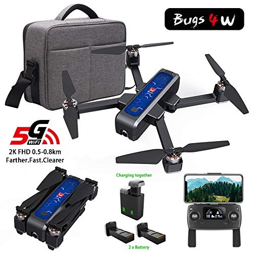 MOSTOP MJX B4W Drone 5G WiFi FPV Camera Drone B4W RC Quadcopter GPS Foldable Full HD 2K Video Record Altitude Hold Track Flight Double Charging App Remote Control 2 Battery (Blue Mjx B4W + Handbag)
