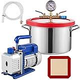 VEVOR 1.5 Gallon Stainless Steel Degassing Vacuum Chamber with 2.5CFM 1/4HP Vacuum Pump Kit (2.5CFM Vacuum Pump Single Stage + 1.5 Gallon Vacuum Chamber)