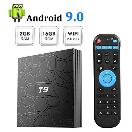Android TV Box, T9 Android 9.0 TV Box 2GB RAM 16GB ROM with RK3318 Quad-core BT4.0 Support Dual WiFi 2.4G+5.0G 3D 4K Smart TV Box
