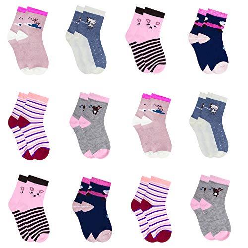 L&K-II 12 paia calzini delle ragazze calzini bambino in cotone confortevole 2809 27-30
