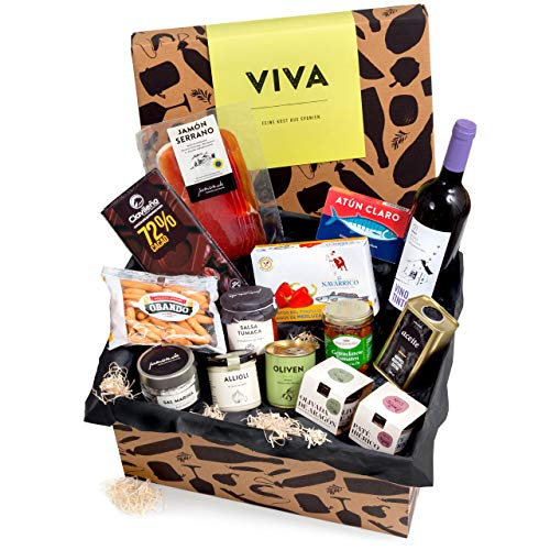 Präsentkorb 'Viva' mit spanischen Delikatessen | Dekorative Geschenk-Box mit ausgewählten...