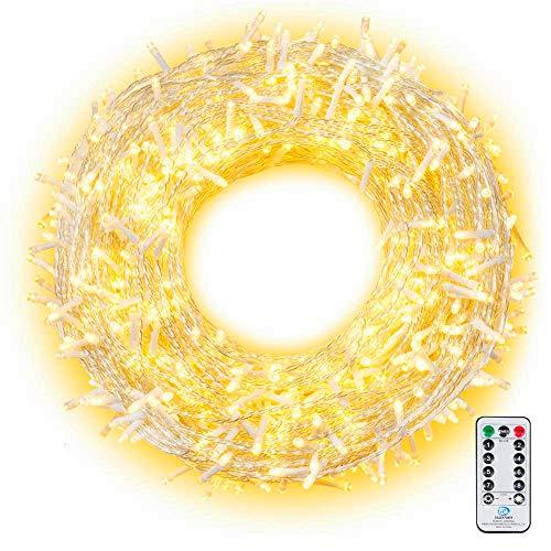 Ollny 800 LED Lichterkette 100M LED Lichterkette Außen Wasserdicht Lichterkette Strombetrieben mit Fernbedienung & Timer, 8 Modi Warmweiß Lichterkette Außen Innen für Weihnachten, Party, Hochzeit