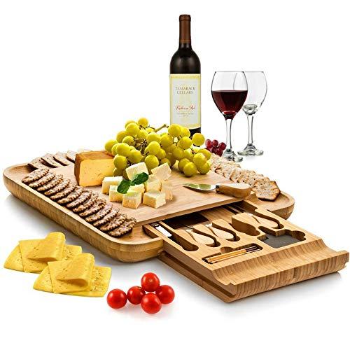 Bambüsi Premium Bamboo Cheese Board - Wood Charcuterie...