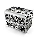 Caja de maquillaje profesional Glow, para maquillaje, esmaltes de uñas, joyas, accesorios Black Zerba S