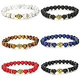 FIBO STEEL 6 Pcs Buddha Bead Bracelets for Men Women Elastic Charm Bracelet Set