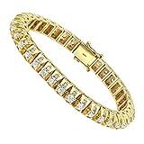 15 Carat Unique Diamond Tennis Bracelet for Men in 14k Gold 15ctw (Yellow Gold)