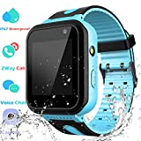 Waterproof Smart Watch Phone Boys Girls - Kids Smartwatch with LBS Position Tracker SOS Voice Chat Camera Game Flashlight Alarm Clock Children Sports Digital Students Wrist Watch Birthday Gifts, Blue