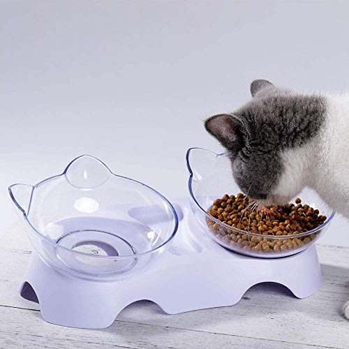 Elevated Double Cat Bowl, Pet Feeding Bowl | 15°Tilted Raised Pet Bowl Stress-Free Suit for Cats Small Dogs