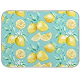 Yellow lemon teal background Dish Drying Mat for Kitchen Counter - 18' x 16' inch Microfiber Dish Mat Absorbent Drying Pad Dish Drainer Mats for Countertop Heat-resistant and ECO Friendly