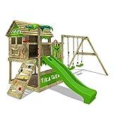 FATMOOSE Aire de jeux Portique bois TikaTaka avec balançoire et toboggan vert pomme, Cabane enfant exterieur avec bac à sable, échelle d'escalade & accessoires de jeux