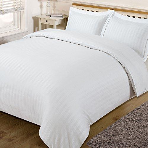 Dreamscene–hermoso satén edredón y almohada juego de cama, blanco, Super King