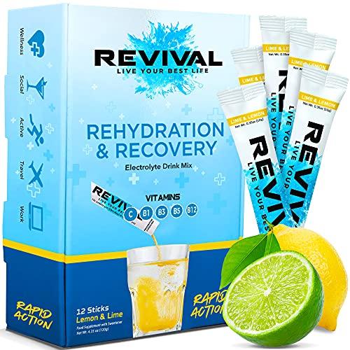 Revival Rapid Rehydration Electrolytes Powder - High Strength Vitamin C, B1, B3, B5, B12 Supplement Sachet Drink, Effervescent Electrolyte Hydration Tablets - 12 Pack Lemon Lime