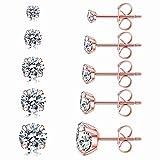 5 Pairs Stud Earrings Set, Hypoallergenic Cubic Zirconia 316L Earrings Stainless Steel CZ Earrings 3-8mm, Rose Gold (Rose gold)