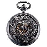 ManChDa Antique Mécanique Montre de Poche Chanceux Dragon & Phoenix voeux...