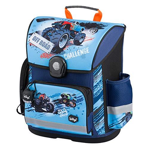 Baagl Schulranzen Jungen 1. Klasse - Ergonomische Schultasche für Kinder - Grundschule Ranzen - Schulrucksack mit Brustgurt (Truck)