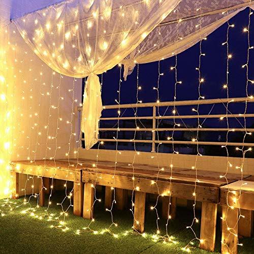 Yinuo Mirror Tenda Luminosa Led 6x3, Luci di Natale Interno Esterno Impermeabilit IP44 con 600LEDs, 8 Modalit di Illuminazione per Natale, Interno, Camera da Letto, Giardino, Bianco Caldo